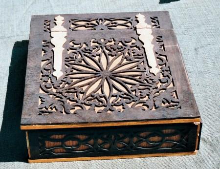 White Oak Box with Walnut Overlay and Birds Eye Maple Wood Hinges